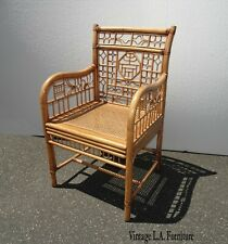 Vintage Asian Oriental Bamboo Rattan w Cane Accent Chair ~ Gold Brown
