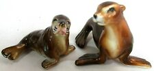 """Vintage Porcelain Sea Lion Set Of Two Mom & Pup #1439 2"""" Tall"""