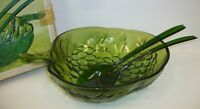 Vintage Indiana Glass Avocado Olive Green 3-pc Salad Serving Set EUC with Box