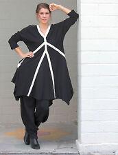 ALEMBIKA  Cotton Knit  SALSA DRESS  Flattering Panel Design  Sz 1  (S/M)  BLACK