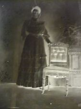 "Antique Glass B&W Photo Slide Negative Dry Plate 41/4""X61/2"" Woman Standing Pose"