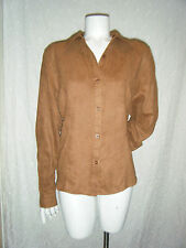 ST. JOHN'S BAY Women's Brown Button Down Top Blouse Suede-like Shirt sz. L
