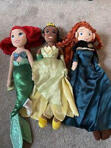 Disney Princess Soft Toy Dolls, Ariel, Merida And Tiana Disney Store Faulty