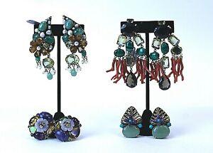 Lot of four Iradj Moini Statement Earrings with Semi-precious Stones