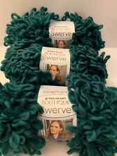 Red Heart Boutique Swerve Loop Yarn Balls - Dark Green - Lot Of 3