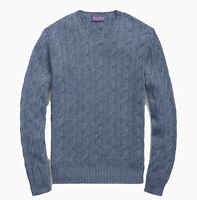 $995 Ralph Lauren Purple Label Cashmere Cable Knit Slim Fit Crew Neck Sweater