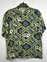 Authentic Big Dogs Mens Blue Green Casino Play To Win Vintage Hawaiian Shirt L