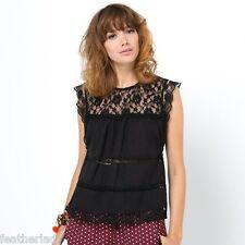 La Redoute Boxy SEXY BLACK LACE sleeveless top blouse UK 8 EU 36 NEW