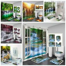 1/3/4pc Waterfall Bathroom Set Shower Curtains Bath Mats Rugs Toilet Seat Covers