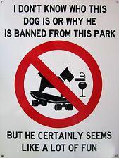 Dog Banned Park Metal Sign
