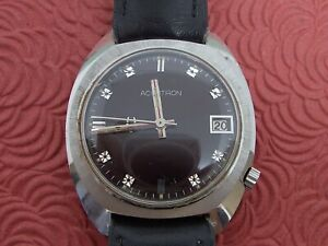 ACCUTRON 218 RARE PURPLE DIAL , ALL STAINLESS STEEL CASE  RUNNING!!