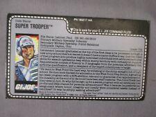 GI Joe 1987 SUPER TROOPER CARD Red Back Uncut Vintage Hasbro