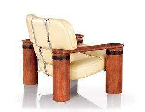 """41"""" W Arm chair Italian leather light beige exotic hardwood frame metal accents"""
