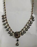 Natural Pave Diamond & Diamond Polki Gold & 925 Sterling Silver Necklace Jewelry