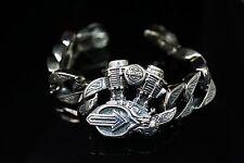 Heavy 925 Sterling Silver V Twin Engine Rolo Bracelet For Harley Davidson Biker