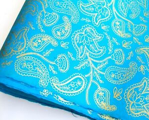 Lokta Paper, Handmade Fair Trade Wrapping Paper, Gold Paisley Print