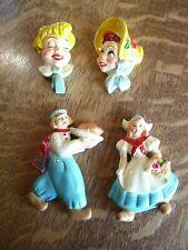 Nice ! 4 pc lot Vtg Chalkware Dutch Girl Boy bonnet girl boy
