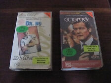 Dr. No and Octopussy 2x VHS James Bond Sean Connery Roger Moore Ian Fleming spy