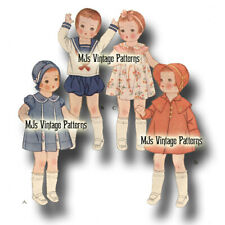 """Vtg 30s Pattern ~ Dress Clothes 19"""" Patsy Ann, Shirley Temple, Composition Doll"""