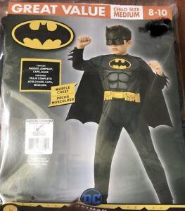 NEW Batman Child Costume Muscle Chest Jumpsuit Cape & Mask Size Medium 8-10 M