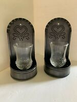Home Interiors Metal Heart Wall Sconces Set Of 2 With Votive Glass Candle Holder