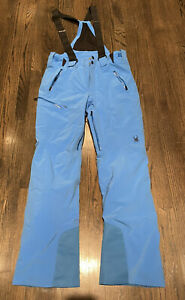 Spyder Mens Ski Snowboarding Bib Pants Teal Size M Waterproof Stretch Insulated