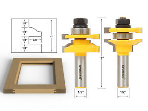 "Ogee 2 Bit Rail and Stile Router Bit Set - 1/2"" Shank - Yonico 12243"