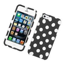 For Apple iPhone 5/5S Black White Polka Dots Hard Plastic Case Cover