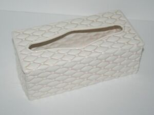Ceramic Porcelain Tissue Box Cover, Quilted Creamy Pale Pink, Bathroom Decor