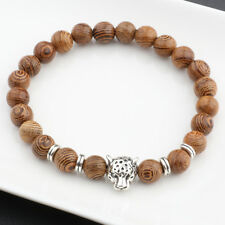 Handmade Silver Leopard 8mm Wood Beads Yoga Casual Cuff Bracelets Birthday Gift