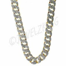 MENS ICED OUT HIP HOP 14K GOLD PLATED SILVER GLITTER CUBAN CHAIN NECKLACE *NEW*