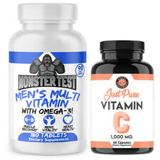 Angry Supplements Monster Test Multivitamin for men +  Vitamin C  Immune Health