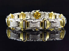 Mens 10K Multi Tone Gold Genuine Diamond Flag Style Link Bracelet 14MM (3.0Ct)