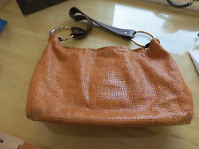 Capisce Leather Crosshatch Pattern Hobo Bag w/ Large Leather Strap, Old GOLD