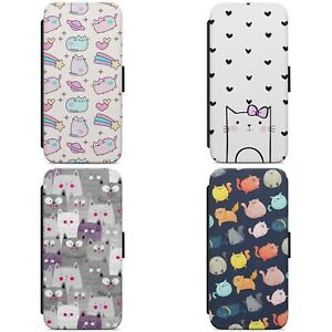 Cute Cat Kitten Pattern Print WALLET FLIP PHONE CASE COVER FOR IPHONE SAMSUNG