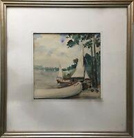 ERICH HINZ 1908 SEGELBOOTE AM WANNSEE - BERLIN MITTE MUSEUM VERTRETEN 50 X 48,5