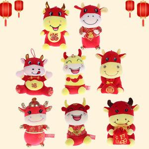 20/25cm 2021 Year Chinese Zodiac Ox Cattle Plush Toy Milk Cow Mascot Plush Doll