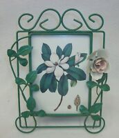 Lovely Metal Tole Painted Vines & Flower Self Standing Picture Photo Frame