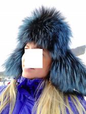 SILVER FOX FUR LEATHER HAT RUSSIAN USHANKA IN BLUE FOX FUR REAL FUR & LEATHER