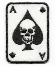 Iron On/ Sew On Embroidered Patch Badge Ace of Spades Skull
