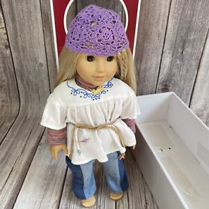 American Girl Julie Doll With Julie Gold Necklace, Hat, Clothes, Sandals In Box