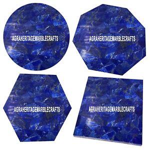 Marble Small Coffee Table Top Lapis Lazuli Inlay Random Stone Bedroom Home Decor