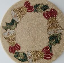 """New listing 8 New Nicole Miller Beaded Christmas Placemats Bells Holly 15"""" Round"""