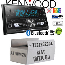 KENWOOD autoradio pour Seat Ibiza 6j Anthracite Noir Bluetooth USB Kit de montage