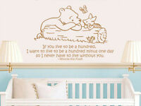Winnie the Pooh Wall Decal Kid Quote Vinyl Sticker Nursery Baby Room Decor ZX209