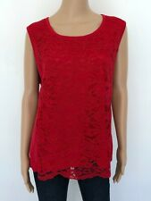 NWT! JOAN VASS Plus Sz 2X Cotton Red Lace Shell Sleeveless Knit Tank Top Women's
