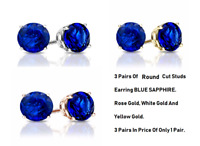 3 PAIRS! 6MM Round Cut Stud Earrings Blue Sapphire 14k White, Yellow & Rose Gold