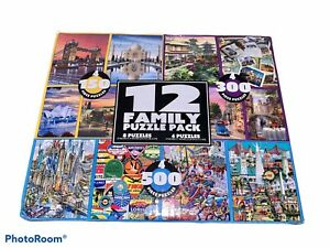 Lot Of 12 Family Puzzle Pack Travel Colorful 150 300 & 500 Piece Puzzles