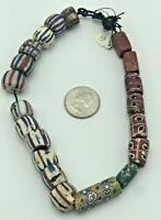 Antique Venetian Green Millefiori Chevron Italian Beads African Trade