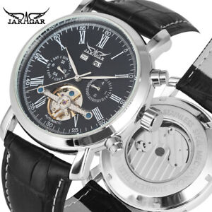 JARAGAR Roman Numers Day Date Automatic Mechanical Leather Band Men Wrist Watch